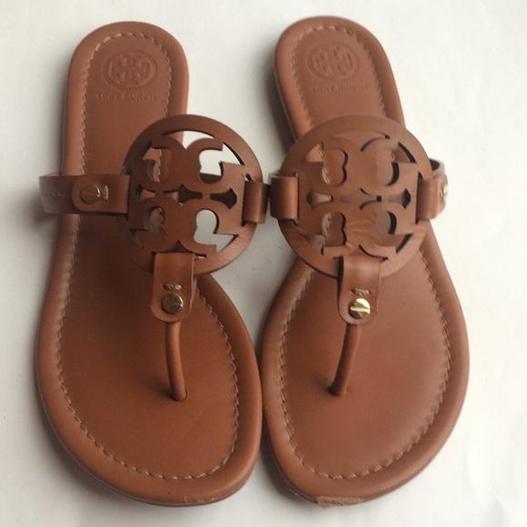 5bd6592c39c3ee Tory Burch Miller Sandals Tan Vintage Matte 7.5. M 5a3d3acc46aa7cea190215d0